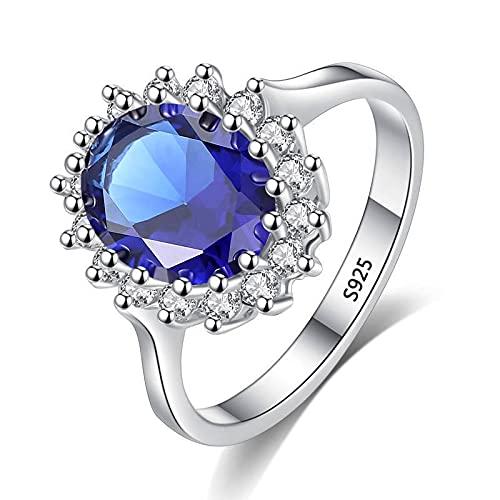 XIAOMAI Cut Lab creó Anillo de Zafiro Azul 925 Anillos de joyería de Compromiso de Plata para Mujeres