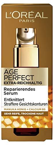 L'Oréal Age Perfect Extra-Reichhaltiges Serum, Gesichtsserum mit Manuka Honig für trockene & reife Haut, intensiv gepflegte und geschmeidige Haut, 30ml