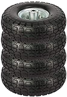 Yaheetech Solid Wheelbarrow Tires Sack Truck Cart Wheel Replacement 5/8-inch Bearings for Wagon/Lawn/Garden/Beach/Trolley 4/8/12 Pack 10-inch (4)