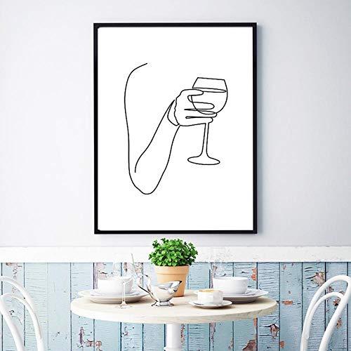 Cuadros salon Vino pintura de dibujo de línea de bellas artes abstractas Cheers Bar carro impresión lienzo cartel nórdico 50x70cm sin marco