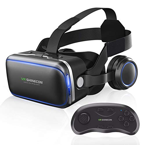 360° VR Headset with Remote Controller Compatible with iPhone and Android Phones 3D Glasses Goggles PC Virtual Reality Headsets Goggles Adjustable VR Glasses for Kids and Adults