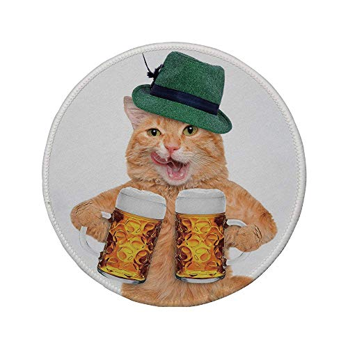 Rutschfreies Gummi-Rundmaus-Pad Katze coole Katze mit Hut und Bierkrug Bayerisches Deutsches Getränkefest Tradition Traditionell lustig Humorvoll Dekorativ Mehrfarbig 7.9