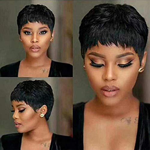 BLISSHAIR Wigs Meches Perruques de Cheveux Humains Pour les Femmes Bangs Noires Brésiliennes Perruques Bob Cheveux Humains Bouclés Courts Pixie Cut