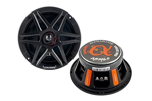 """Alphasonik 1 Pair of ABM65 DYNAMIS Series 6.5"""" 600 Watts Max 150 Watts RMS Mid-Range Car Audio Speaker 4-Ohm Cloth Surround, Non Pressed Paper Cone, Ferrite Magnet, and Grille Included"""