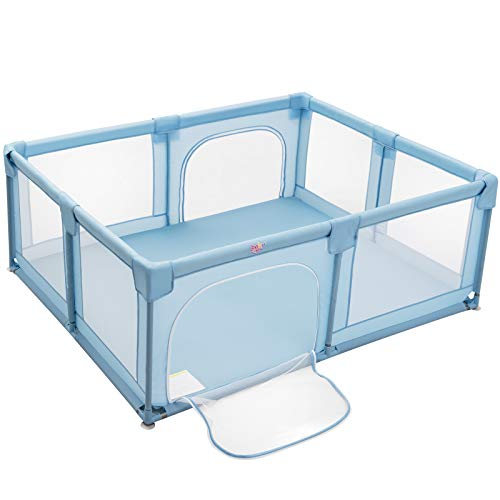 Costzon Baby Playpen, Large Playpen for Toddlers Baby, Portable Safety Baby Fence Activity Center, Infant Playards with Gate, Indoor Outdoor Extra-Large Play Area 75'' x 59'' x 27.5'' in (Blue)