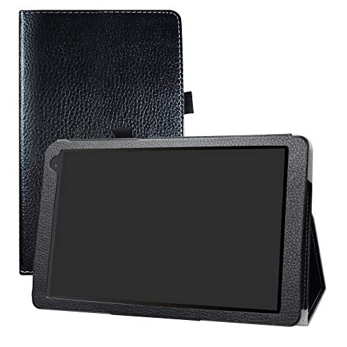 LFDZ Alcatel 1T 10inch Funda, Soporte Cuero con Slim PU Funda Caso Case para 10' Alcatel 1T 8082 10inch Tablet (No Encaja 7' Alcatel 1T 7 Inch 8068 / Alcatel 1T Smart/Alcatel 10T),Negro