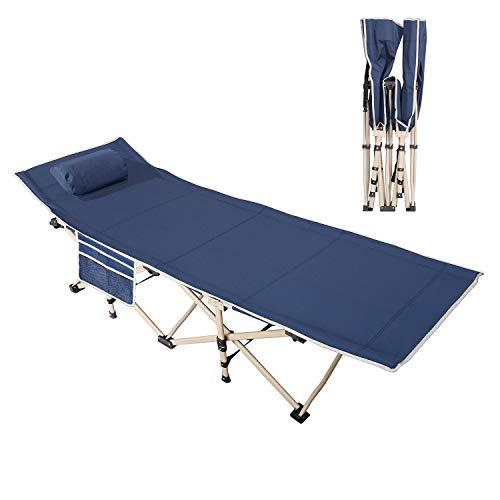 DlandHome Gästebett Campingbett Tragbares Faltbares Bett im Freien mit gepolstertem Kissen und Seitentasche, leichtes Schlafsofa, 190CM*67CM*34CM, Marine