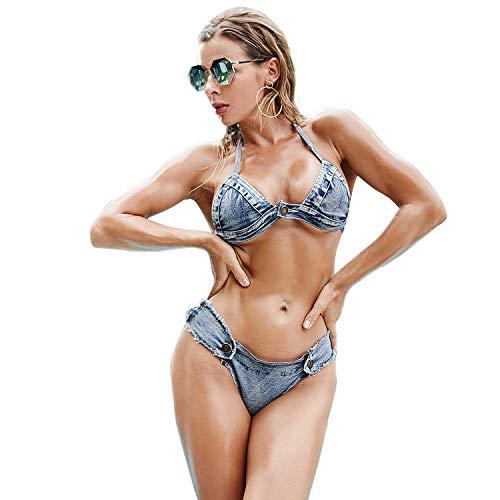 BOZONLI Mujer Bikini de Mezclilla Bañador Sexy Mini Pantalones Cortos de Playa de Cintura Baja para Clubwear Tanga Casual Triángulo Inferior
