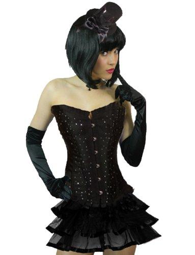 Yummy Bee - Burlesque Corset Diamants Tutu Jupe Costume Déguisement Deluxe Femme - Grande Taille 34 - 50 (Noir RibJupe, 34)