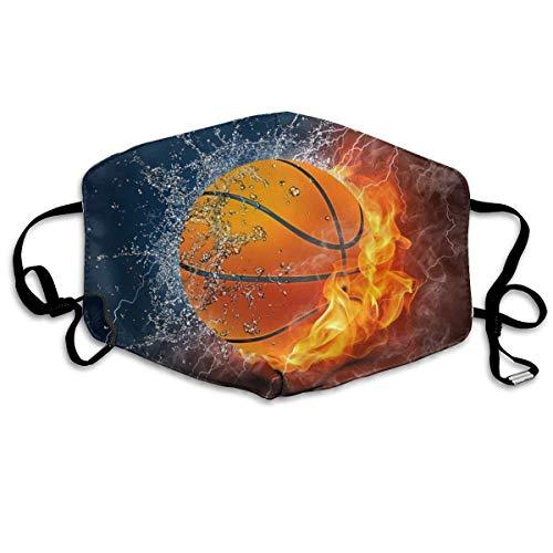 Multifunktionale Gesichtsschutzhülle,Wasser Feuer Flamme Basketball Print Schwarz Gedruckt Unisex Waschbar Wiederverwendbare Gesichtsdekorationen Für Den Persönlichen Schutz