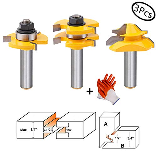 "top 10 tongue and groove router bits Tool set for tongue and slot milling cutters 3 flutes, adjustable 1/2 ""T shape…"