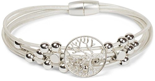 styleBREAKER Armband mit feinen Bändern, Lebensbaum Anhänger und Schmuckperlen, Magnetverschluss, Armschmuck, Schmuck, Damen 05040135, Farbe:Weiß
