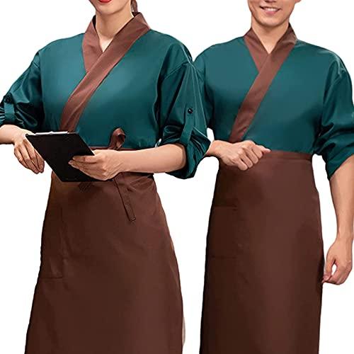 Chef Coat Men Women Kitchen Chef Uniform Women Men Restaurant Hotel Pastry Cook Jacket Work Clothes Cotton Full Sleeve Oil Water Proof Shirt Food Service Tops ( Color : Green , Size : E(3XL) )
