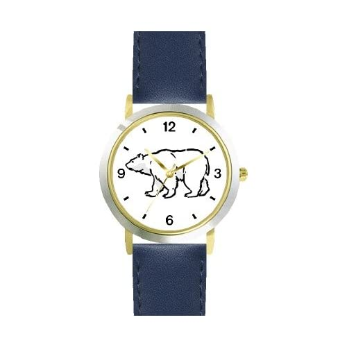 Polar Bear Animal - WATCHBUDDY DELUXE TWO-TONE THEME WATCH - Arabic Numbers - Blue