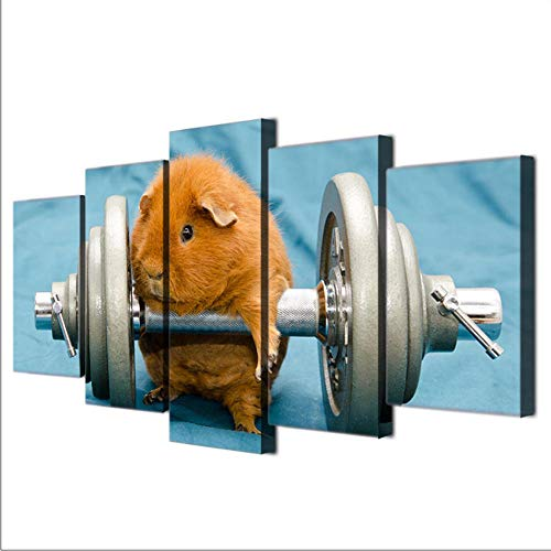 sanjiiNG AbstrakteMalerei 5 Panel Tier Meerschweinchen Kunst Poster Stil Wandbild Für Wohnzimmer Modernes Dekor Malerei YGYT40cmX60cmX2 40cmX80cmX2 40cmX100cmX1