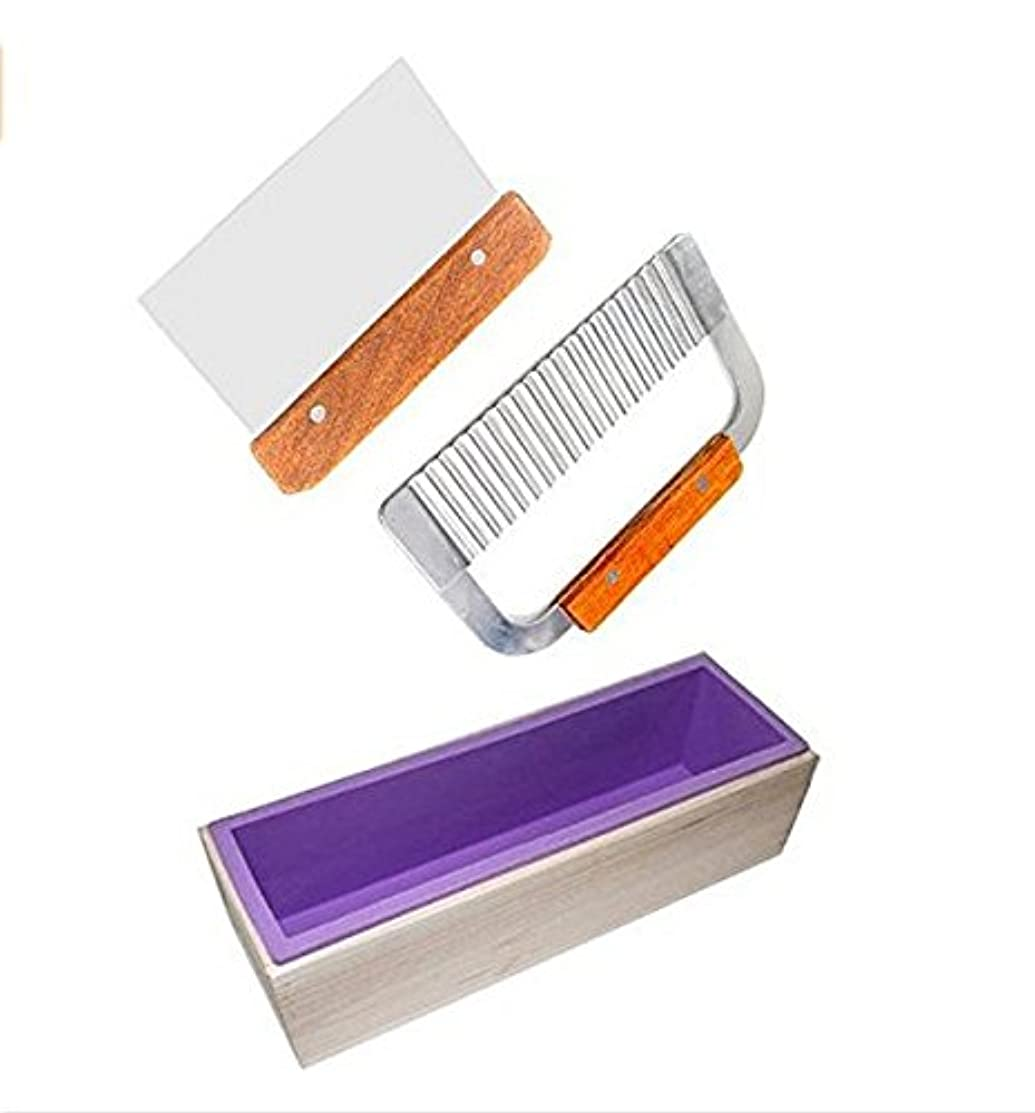 6MILES 1 Purple Flexible Rectangular Silicone Soap Mold with Large Pine Wood Box for Homemade Produce 1.2 Kg Art Craft Soap Making Mold + 2 Pcs Cutter Peeler Slicer Knife Home Kitchen Tool Set