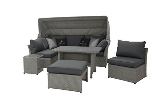 Mandalika Garden Hohe Dining Poly Rattan Lounge inkl. Kissen Relax Deluxe, multifunktional nutzbar mit extra großem Sonnendach