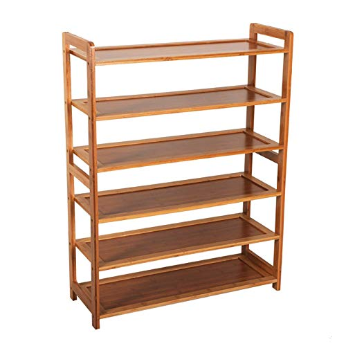 Lshbwsoif Zapatero de bambú de 6 niveles para zapatos de madera de color de almacenamiento de zapatos Estante para armario ordenado, pasillo dormitorio