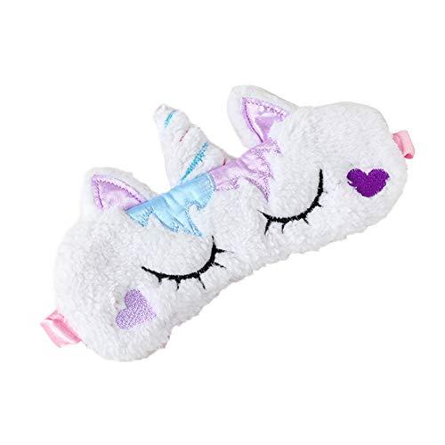 Spaufu süße Plüsch-Schlafmaske mit Cartoon-Einhorn-Form, Augenmaske zum Schlafen, Erwachsene, Kinder, lindert Müdigkeit, leicht, Verdunkelung, atmungsaktiv, Augenbinde, Augenklappe, Weiß, 1 Packung