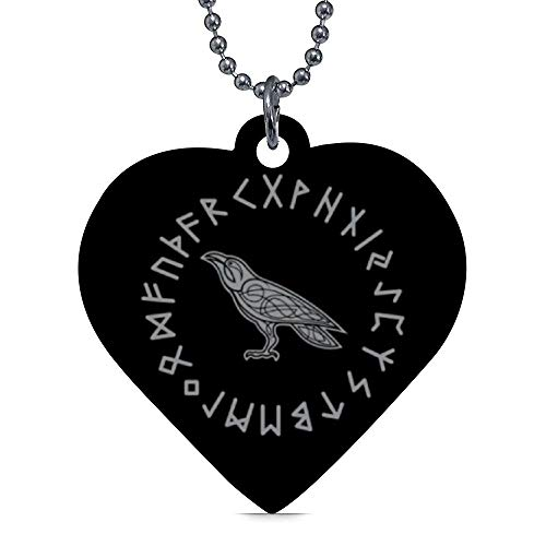 onepicebest Cute Custom Pet ID Tags, Personalized Dog Tag and Cat Tag Odin Raven Crow Viking Mythology Runes Runic Double Sided Pet Tags - Heart Stainless Steel