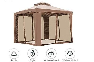 INWAVE Pop up Gazebo 10x10ft Backyard Gazebo Brown Outdoor Canopy Gazebo with Nettingfor Backyard, Outdoor, Patio and Lawn