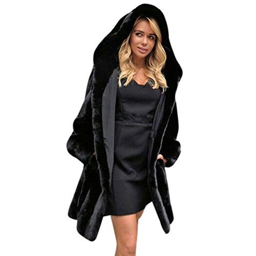 SHOBDW Damen Winter Simplicity Solid Warme Künstliche Pelz Hoodie Webpelz Mantel Frauen weich Plüsch Jacke Parka Outerwear Exquisit Elegant Lässig Flauschigen Bequemes Trenchcoat Sweatshirt Outwear