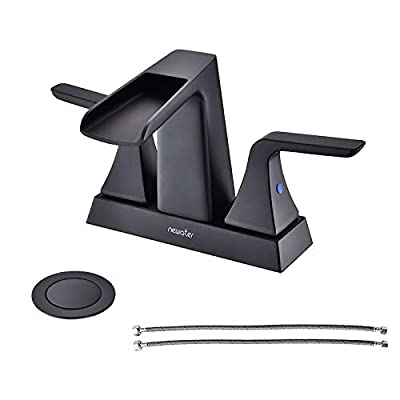 NEWATER Double Handle Waterfall Centerset Three Hole Bathroom Sink Faucet with Pop Up Drain & Supply Lines Lavatory Faucet Mixer Tap Deck Mounted?Matte Black