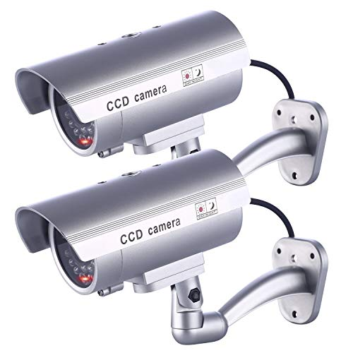 IDAODAN Dummy Security Camera, Fake Cameras CCTV Surveillance System with Realistic Simulated LEDs for Home Security + Warning Sticker Outdoor/Indoor Use (2 Pack)