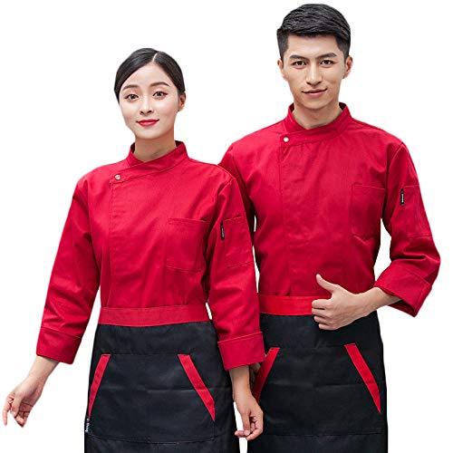 WYCDA unisex kookjack lange mouwen katoen keuken hotelkookkleding uniform werkkleding borstzak design met de knop geschikt voor hotelrestaurants
