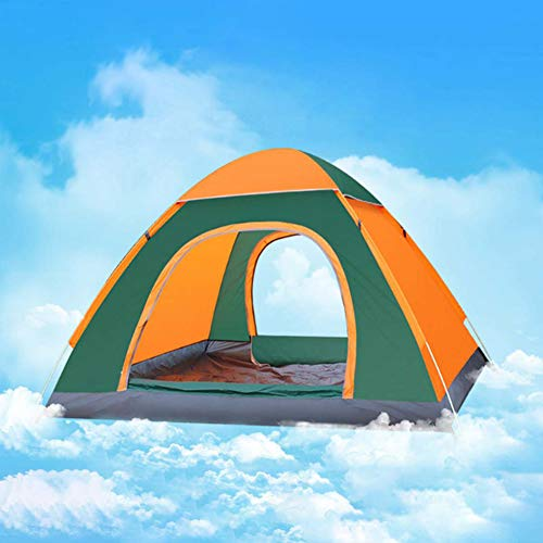 1~4 Person Automatic Pop Up Outdoor Family Camping Tent Ultralight Portable Waterproof Two Doors for Outdoor Hiking Mountaineering Travel,Orange