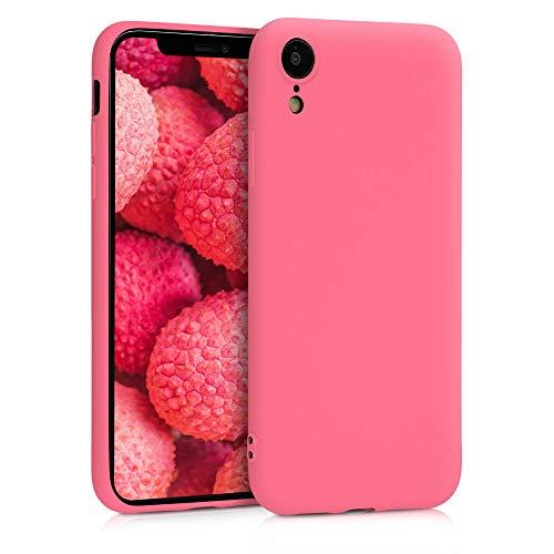 kwmobile Funda Compatible con Apple iPhone XR - Carcasa de TPU Silicona - Protector Trasero en Coral neón Mate