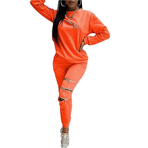 Conjunto de chándal de mujer 2 piezas Loungewear traje deportivo con cremallera ahueca hacia fuera sudadera de manga larga y pantalones de jogger naranja