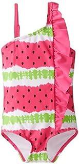 Jantzen Little Girls' 1 Piece Watermelon Print Side Ruffle Swimsuit Fuchsia 4 [並行輸入品]