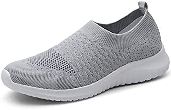 konhill Women's Walking Tennis Shoes - Lightweight Athletic Casual Gym Slip on Sneakers 9 US L.Gray,41