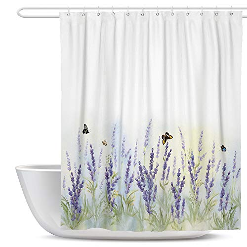 Slody Bathroom Shower Curtain, Rustic Fabric Floral Shower Curtains, Lavender Flower Shower Curtains Set with 12 Hooks, 72×72 Inch