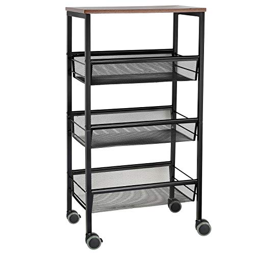 NEX Rustic Kitchen Cart on Wheels, 3-Tier Wire Storage Cart, Wood Top and Metal Frame, Black Florida