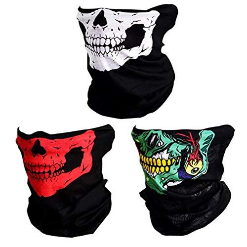 Tofox 3 Stücke Packung Multifunktionstuch Schädel Gesicht Schlauch Bandana Maske,Passend Für Fahrradfahren,Wandern,Campen,Skifahren,Klettern