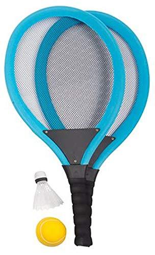 Unbekannt Soft-Tennis-Set 4-teilig Jumbo-Tennisschläger Federball Softball Ball Spiele-Set, Farbe:blau
