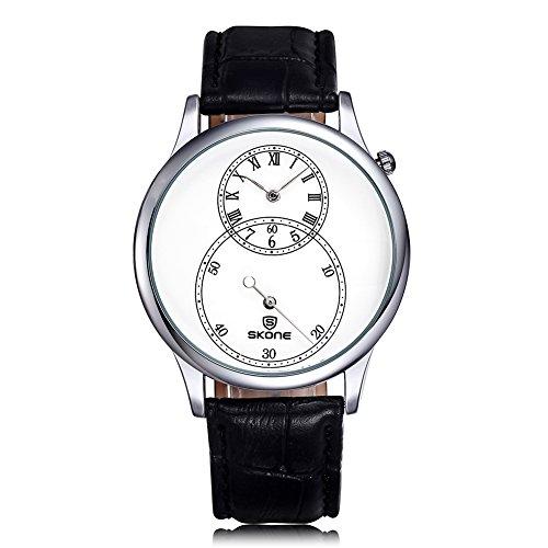 SKONE Herren Uhren Separate zweite Zifferblatt römische Zahl Leder Armbanduhren sj506401
