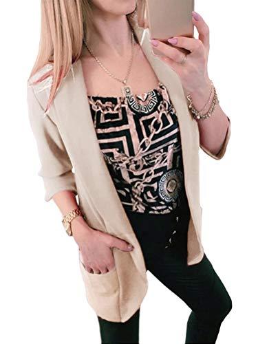 Tomwell Damen Blazer Elegant Mantel mit Knopfleiste Military Coat Lang Blazer Slim Fit Blazer Freizeit Stehkragen Business Büro Anzug Jacken Khaki 38
