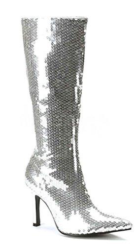 Karneval-Klamotten Disco Stiefel Pailletten Silber Silberne Paillettenstiefel 80er Jahre Karneval Größe 40