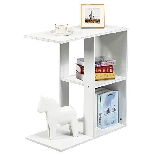 COSTWAY Beistelltisch mit Ablage und Stauraum, Bücherregal Weiß Couchtisch Nachttisch Holz, Sofatisch für Wohnzimmer, Schlafzimmer 60x30x64cm