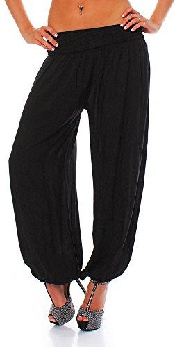Malito Damen Pumphose in vielen Farben und Mustern | Haremshose zum Tanzen | Aladinhose zum Chillen - Freizeithose S1482 schwarz 1482