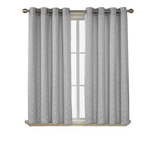 Deconovo Morroccan Silver Grey Curtains for Bedroom Textured Jacquard Room Darkening Curtains 52x72 Inch Length Set of 2