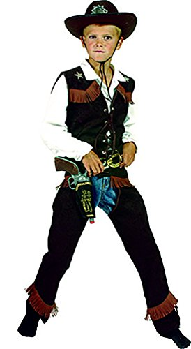 erdbeerclown - Dunkles Cowboy Kostüm mit Fransen für Kinder, 116-122, 6-7 Jahre, Mehrfarbig