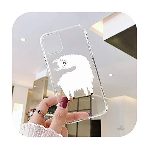 Linda Llama Alpaca patrón teléfono caso transparente para iPhone 11 12 mini pro XS MAX 8 7 6 6S Plus X 5S SE 2020 XR-a9-7plus o 8plus