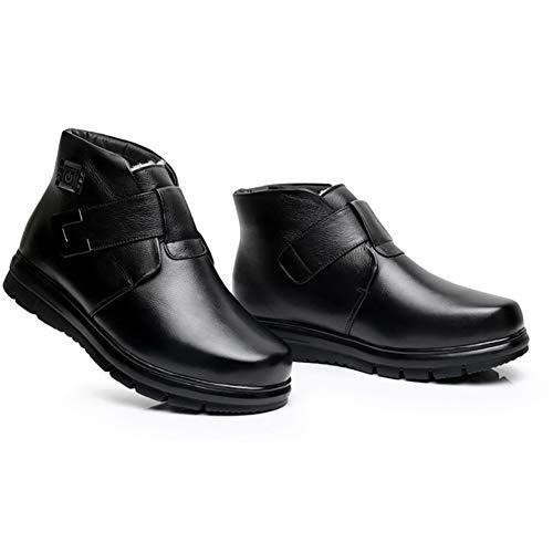 GONG MännerLeder Elektrische Heizung Schuhe, wiederaufladbare 5-Fach Temperatureinstellung Trocknen Schuhe im Winter Fußwärmer Deodorant und Sterilisation/Geeignet für Feldaktivitäten,Black,44yards