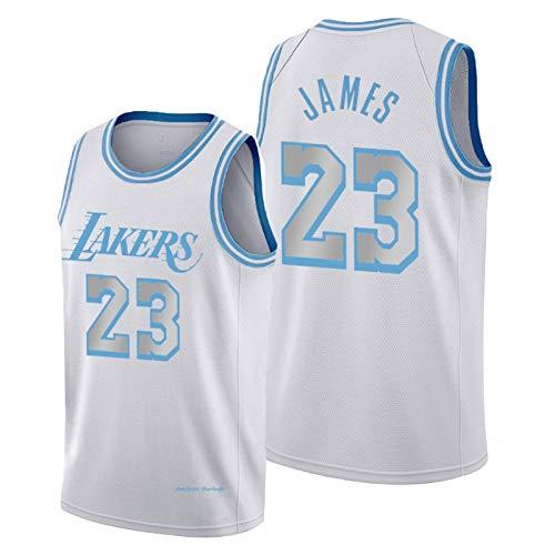 Lebron James Jersey para Hombres y Mujeres, White 2021 edición de la Ciudad de Los Angeles Lakers # 23 Jerseys del Baloncesto Camiseta sin Mangas Recuerdos (S-XXL) S