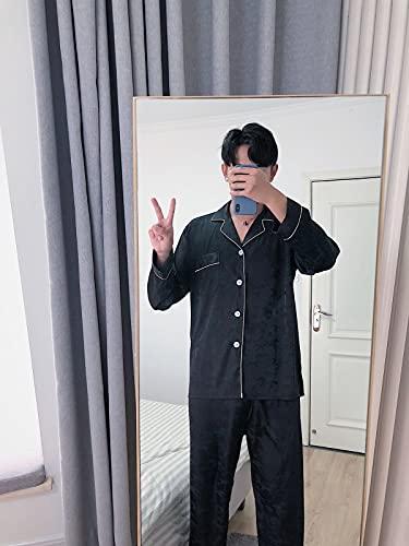 ML S HJDY Pijama Masculino Moda Jacquard Hielo Seda Verano Primavera Fresco Pijama Sets Suave Ropa De Dormir De Manga Larga Fina + Trajes Largos del Pantalón Pijama,Negro,XL