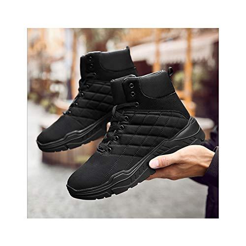 HaoLin Ejército Fan Botines Botas De Nieve De Montañismo Zapatillas Cálidas Zapatos De Trabajo De Felpa Calzado Zapato,Black-41